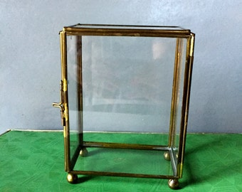 Vintage Glass Box Trimmed in Brass