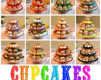 Miniature Sprinkle Cupcake Party Stand (playscale 1:6 scale diorama play mini *red orange green blue purple pink teal christmas halloween)