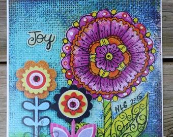 Joy Whimsical Art Print, Whimsical Doodle Flower Art, Flower Wall Decor, Girls Room Art, Girls Room Decor, Doodle Flower Art, Nursery Art