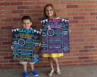 First Day of School Chalkboard Poster Sign First Day of School First Day of Preschool, Kindergarten, 1st, 2nd, 3rd, 4th, 5th, 6th, etc