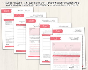 Photography Business & Client Forms - Photoshop Template for photographers (BCF01) - INSTANT DOWNLOAD