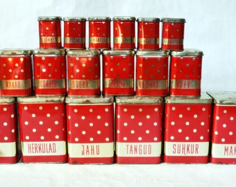 Dotted Polka dot Red tin canisters Soviet Vintage USSR Rustic Set of 18 tin box Kitchen decor Russian design organizer Unique Gift
