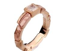 Brick Engagement Ring - Unique Engagement Ring, tricolor engagement ring, men's ring, princess cut diamond, square diamond ring, two tone, 3