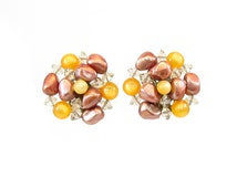 Vintage Cluster Bead Earrings, Orange Moonglow, Rusty Pink Beads, Clear Faceted, Lucite Beads, Clip Ons, Statement Earrings