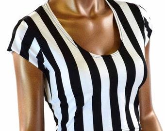 Black & White Stripe Cap Sleeve Crop Top Referee Jailbird Inmate 151217