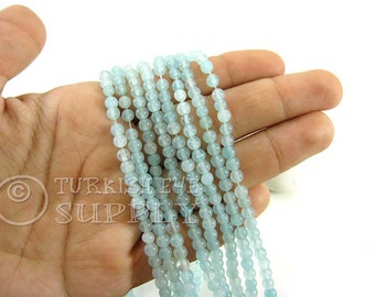 Jade Beads, 4mm Round Aqua Blue Jade Bead Strands, One 1 Full Strand Semiprecious Gemstone Beads, Loose Beads