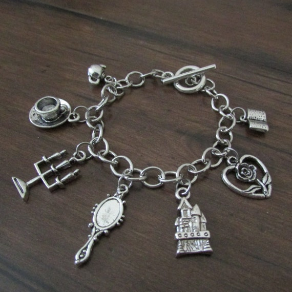 Beauty and the beast inspired charm bracelet by for Disney beauty and the beast jewelry