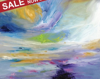 """Abstract Oil Painting Art Original // """"Tempest"""" 16 x 16"""" on Canvas"""