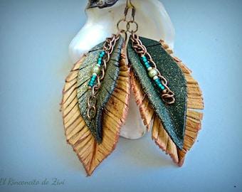 Long chain leather earring, leaf earring, green leather earrings, boho dangle earrings, leather jewelry, brown-green earrings, long earrings