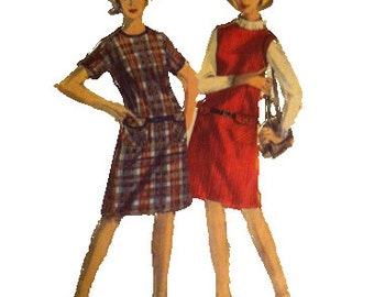 Simplicity 6092, Dress or Jumper, Size 18, 1960s, Personal Fit, Vintage Fashion Sewing Pattern