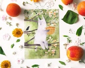 Post card BEST TIME TOGETHER Friends post card Cute wolf post card Wolf card Wolf art Apricot watercolor Animal post card