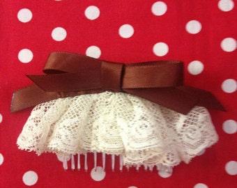 Vintage lace & Ribbon slide comb