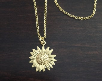 Sunflower Necklace, Sunflower, Gold Sunflower Necklace, Flower Necklace, Sunflower Pendant, Sunflower Jewelry, Necklace, Gold Necklace
