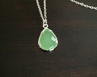 green necklace, light green necklace, green jewelry, green gem, green stone, gem necklace, stone necklace, silver necklace, necklace