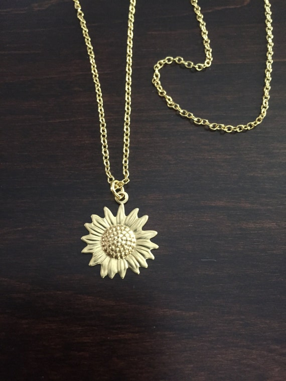 Sunflower Necklace Sunflower Gold Sunflower Necklace Flower