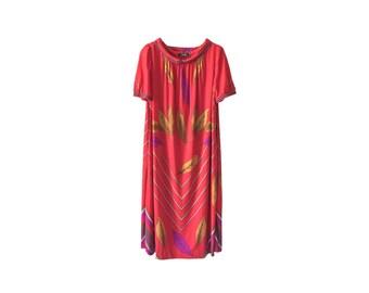 Bold Red 70s Vintage Kaftan Dress Size M E D I U M