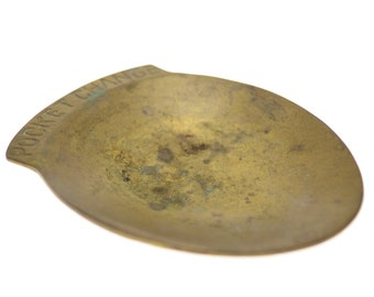 Small Vintage Brass Pocket Change Tray   Coin Tray   Made in India