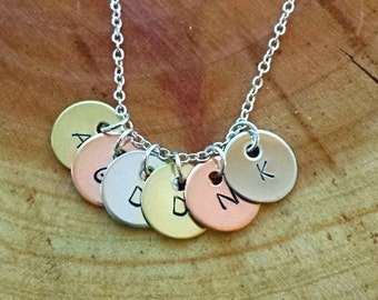 Initial Necklace, Six Initials Necklace, Children's Initials Necklace