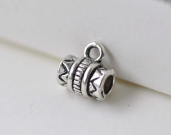 Antique Silver Tube Bail Charms  5.5x8mm Set of 50 pcs A7838