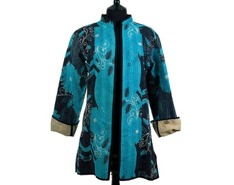 KANTHA JACKET - Small - Long style - Size 10/12 - Black and sky blue. Reverse sand colours