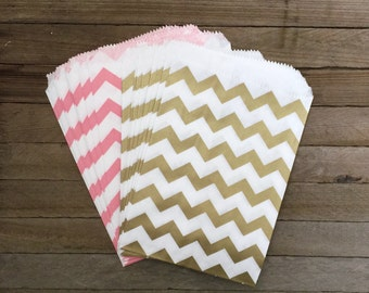 48 Gold and Pink Favor Bags--Chevron Favor Bag--Candy Favor Bag--Chevron Goodie Bags--Chevron Party Sack--Birthday Treat Sacks