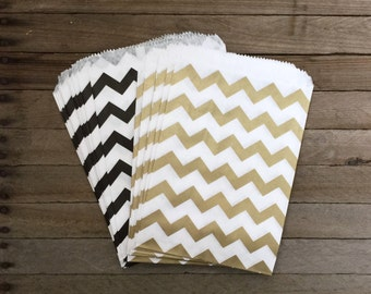 48 Gold and Black Favor Bags--Chevron Favor Bag--Candy Favor Bag--Chevron Goodie Bags--Chevron Party Sack--Birthday Treat Sacks