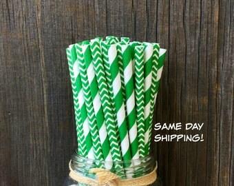 100  Green Stripe and Chevron Straws, Birthday, St. Patrick's Day, Party Supply,  Christmas Paper Straws