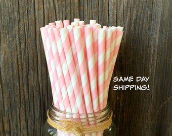 25,50 or 100 Light Pink Striped Straws, Baby Shower, Birthday Party, Easter, Striped Paper Straws