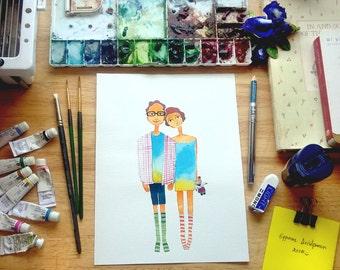 DIGITAL FILE, Custom Illustration, Quirky custom illustration. couple portrait .Custom couple illustration.