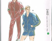 UNCUT Size S-XXL Men's Windbreaker Suit With Long Pants Or Shorts - Warm Up Suit - Track Suit - Kwik Sew 2463