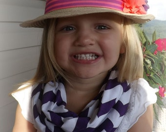Girls Purple Chevron Infinity Scarf Ready to Ship!! Jersey Knit Girls Accessories