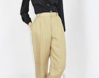 vtg 90s slacks camel brown linen pants tapered leg trousers high waisted slacks khakis size 8 Large lrg l