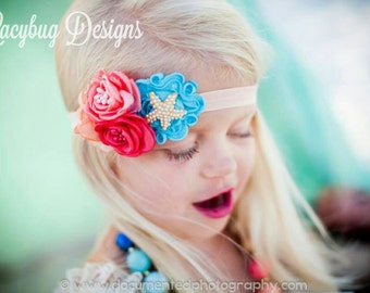 Vintage Inspired Beach Headband and Bubblegum/Chunky Necklace RTS