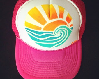 Sunset Curl Wave Trucker Hat