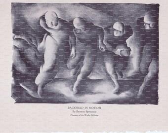 "Harper's Monthly Magazine Book Plate. ""Backfield in Motion"". Benton Spruance. 1933."