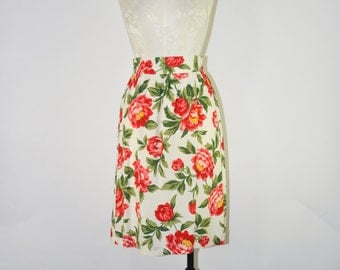 peony print skirt / red peony skirt / floral rayon skirt / vintage full skirt
