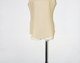 natural linen camisole / vintage neutral top / 90s minimalist tank top / beige sleeveless blouse