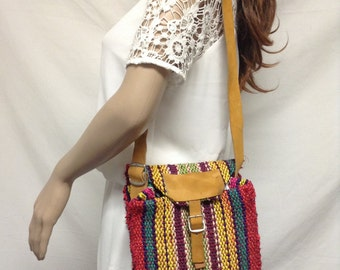 Sisil Purse, Leather Trim,rainbow,bag,purse, Shoulder Bag