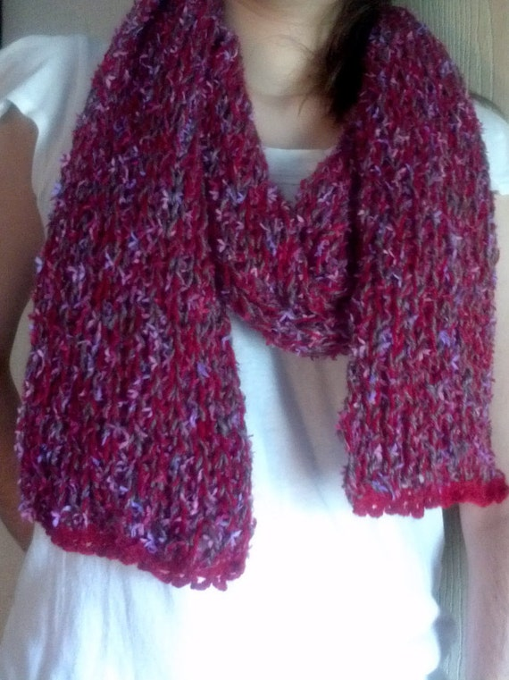 Multi Colored Scarf Knitting Pattern : Multi Colored Knit Scarf in Burgundy Pinks Lavenders and
