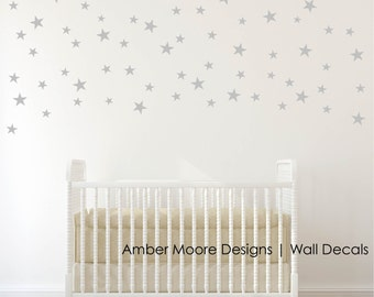 Silver Stars Wall Decals   Confetti Silver Star Decals  Silver Wall Decal  Stickers   Set