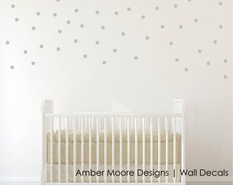 Silver Polka Dot Decals - Silver Circle Decals - Vinyl Silver Circles - Confetti Polka Dot Silver Stickers