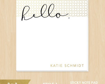 Personalized Sticky Note Pad // Hello or XOXO in Calligraphy with Faux Gold Foil Polka Dots // S120