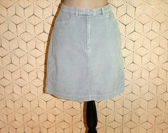 Corduroy Skirt Mini Skirt Casual Gray Skirt Size 10 Medium Womens Skirts Short Skirt Light Gray Cotton Skirt Womens Clothing