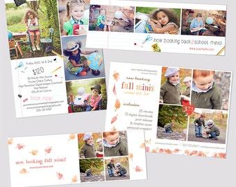 INSTANT DOWNLOAD, Mini Session Postcard Bundle, Photography Template, Flyer, Back To School, Fall Minis, Kids, bonus FB timeline, Freebie
