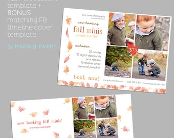 INSTANT DOWNLOAD - Mini Photography Sessions Template  - Modern -  Fall - Children - Pumpkin Patch - Portraits - 5x7 - Flyer - Digital