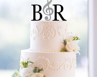 Monogram Wedding Cake Topper – Custom 2 Initials Topper with Music Note, Available in 15 Colors, 12 Fonts and 18 Glitter Options - (T189)