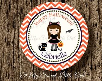 Halloween cupcake topper - halloween printable - halloween label - halloween sticker - halloween tag - cat halloween - halloween custom