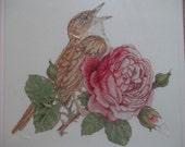 """Rose & Nightingale.  Beautiful Cross Stitch Kit from Bucilla.  Finished size is 9.5"""" x 8.5"""". Factory sealed and complete. Ready to ship."""