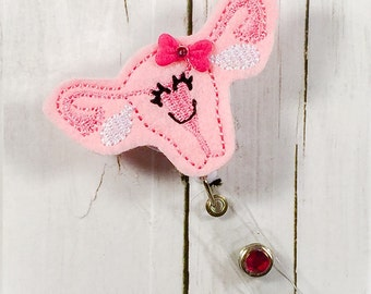 Uterus Badge Holder Badge Reel Retractable ID - Gynecologist