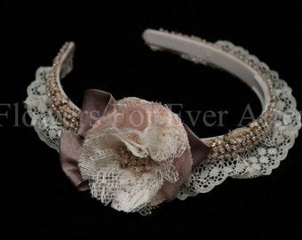 Milly, Flower Girl Vintage Style Wedding Headband